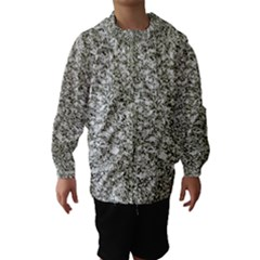 Black And White Abstract Texture Print Hooded Wind Breaker (kids)