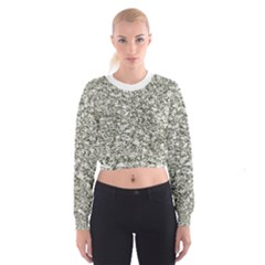 Black and White Abstract Texture Print Women s Cropped Sweatshirt