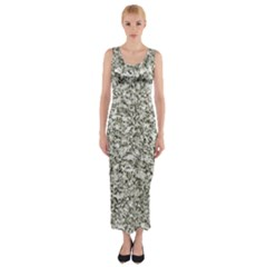Black and White Abstract Texture Print Fitted Maxi Dress