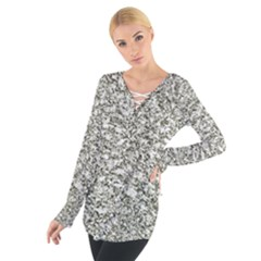 Black and White Abstract Texture Print Women s Tie Up Tee