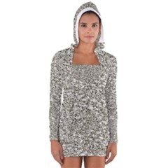 Black and White Abstract Texture Print Women s Long Sleeve Hooded T-shirt