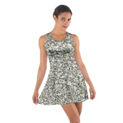 Black and White Abstract Texture Print Racerback Dresses