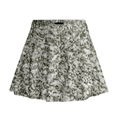 Black and White Abstract Texture Print Mini Flare Skirt