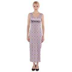 Anita Tuva Pattern Pink Purple Teal Peach Fitted Maxi Dress