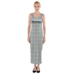 Anita Silvia Red Teal Peach Blue Pattern Fitted Maxi Dress