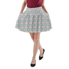 Anita Silvia Red Teal Peach Blue Pattern A Line Pocket Skirt
