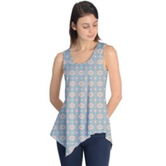 Anita Silvia Red Teal Peach Blue Pattern Sleeveless Tunic