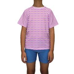 Rigmor Pattern In Purple Peach Red And White Kid s Short Sleeve Swimwear