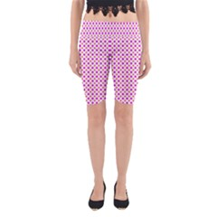 Rigmor Pattern In Purple Peach Red And White Yoga Cropped Leggings