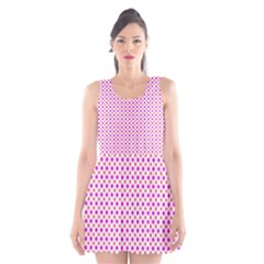 Rigmor Pattern In Purple Peach Red And White Scoop Neck Skater Dress