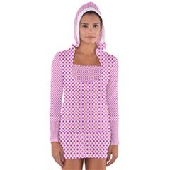 Rigmor Pattern In Purple Peach Red And White Women s Long Sleeve Hooded T-shirt