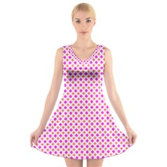 Rigmor Pattern In Purple Peach Red And White V-Neck Sleeveless Skater Dress