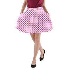 Rigmor Pattern In Purple Peach Red And White A-Line Pocket Skirt