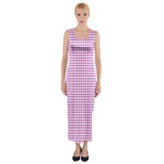 Rigmor Sorroya Retro Pattern Pink Peach White Fitted Maxi Dress