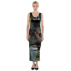 Happy Hallows Eve Fitted Maxi Dress