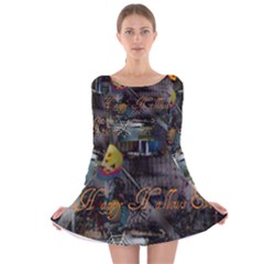 Happy Hallows Eve Long Sleeve Velvet Skater Dress