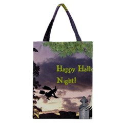 Happy Halloween Night Witch Flying Classic Tote Bag