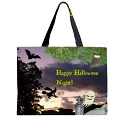 Happy Halloween Night Witch Flying Large Tote Bag