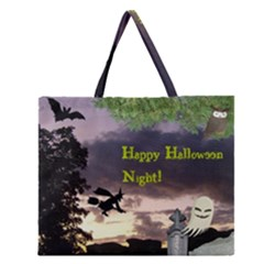 Happy Halloween Night Witch Flying Zipper Large Tote Bag
