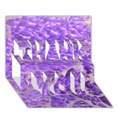 Festive Chic Purple Stone Glitter  THANK YOU 3D Greeting Card (7x5)