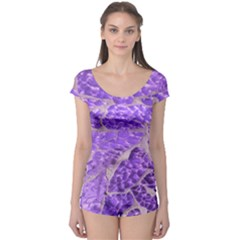 Festive Chic Purple Stone Glitter  Boyleg Leotard (Ladies)
