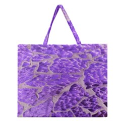 Festive Chic Purple Stone Glitter  Zipper Large Tote Bag