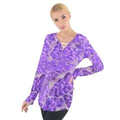 Festive Chic Purple Stone Glitter  Women s Tie Up Tee