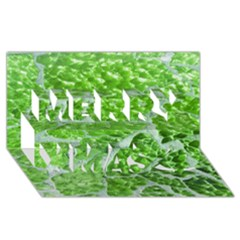 Festive Chic Green Glitter Shiny Glamour Sparkles Merry Xmas 3D Greeting Card (8x4)