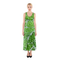 Festive Chic Green Glitter Shiny Glamour Sparkles Sleeveless Maxi Dress