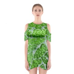 Festive Chic Green Glitter Shiny Glamour Sparkles Cutout Shoulder Dress