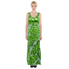Festive Chic Green Glitter Shiny Glamour Sparkles Maxi Thigh Split Dress