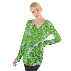 Festive Chic Green Glitter Shiny Glamour Sparkles Women s Tie Up Tee