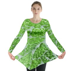 Festive Chic Green Glitter Shiny Glamour Sparkles Long Sleeve Tunic