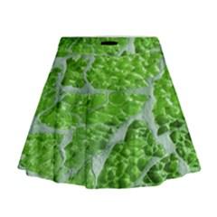 Festive Chic Green Glitter Shiny Glamour Sparkles Mini Flare Skirt