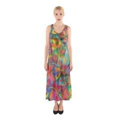 Colorful Autumn Sleeveless Maxi Dress