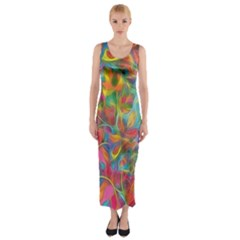 Colorful Autumn Fitted Maxi Dress