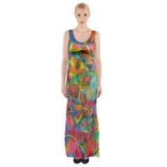 Colorful Autumn Maxi Thigh Split Dress