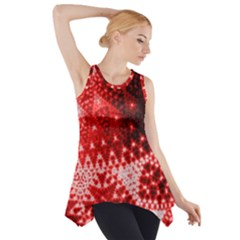 Red Fractal Lace Side Drop Tank Tunic