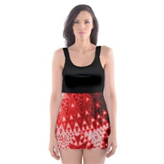 Red Fractal Lace Skater Dress Swimsuit