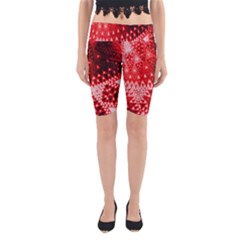 Red Fractal Lace Yoga Cropped Leggings