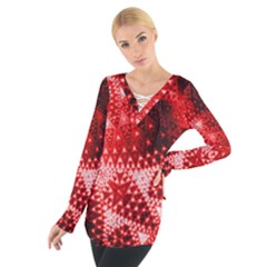 Red Fractal Lace Women s Tie Up Tee