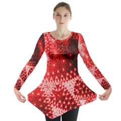 Red Fractal Lace Long Sleeve Tunic