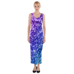 Glitter Ocean Fitted Maxi Dress