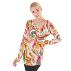 Sunshine Swirls Women s Tie Up Tee