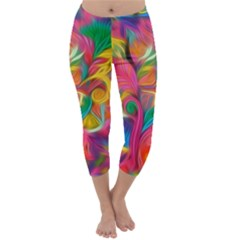 Colorful Floral Abstract Painting Capri Winter Leggings