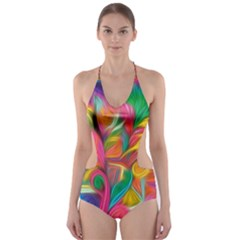 Colorful Floral Abstract Painting Cut-Out One Piece Swimsuit