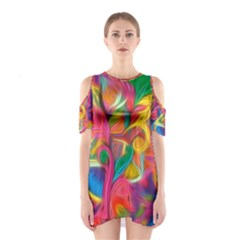 Colorful Floral Abstract Painting Cutout Shoulder Dress