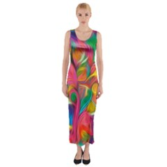 Colorful Floral Abstract Painting Fitted Maxi Dress