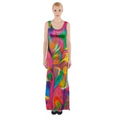 Colorful Floral Abstract Painting Maxi Thigh Split Dress