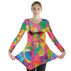 Colorful Floral Abstract Painting Long Sleeve Tunic